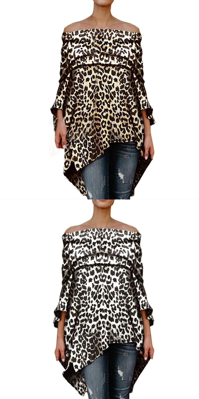 e0189262cea93 Women blouse fashion women off shoulder leopard printed sexy top women long  sleeve tops blouse oc16  polyester  long  casual  batik  full  none  leopard  ...
