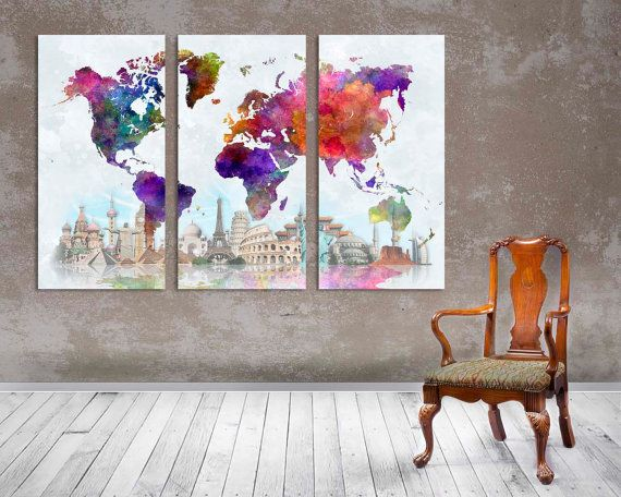 3 panel split abstract world map canvas print15 deep frames 3 panel split abstract world map canvas print15 by arttecprints gumiabroncs Image collections