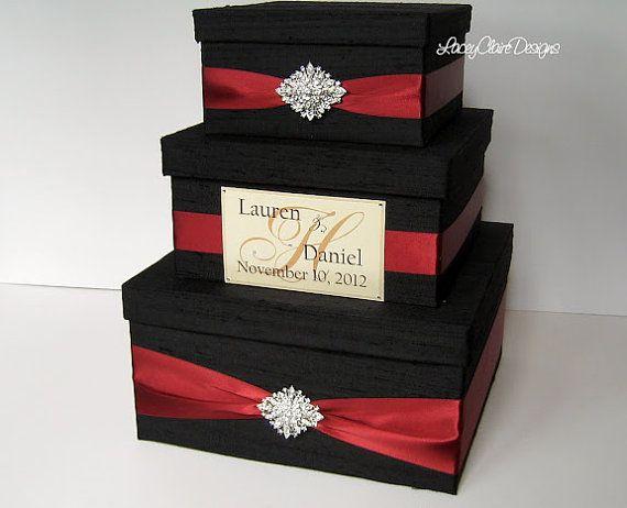 Wedding Gift Box Card Money Holder Envelope Reception Custom In Damask And C