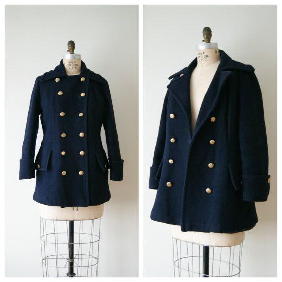 60s Coat. Vintage Pea Coat. Navy Blue Wool Jacket. Women's Winter ...