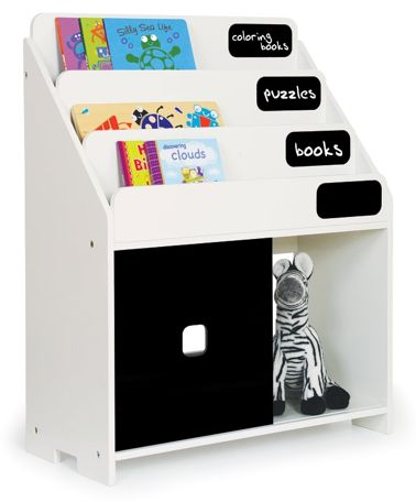 P'kolino Chalkboard Book Shelf is so smart for kids' rooms. Helps kids learn to organize and label their own books and items.