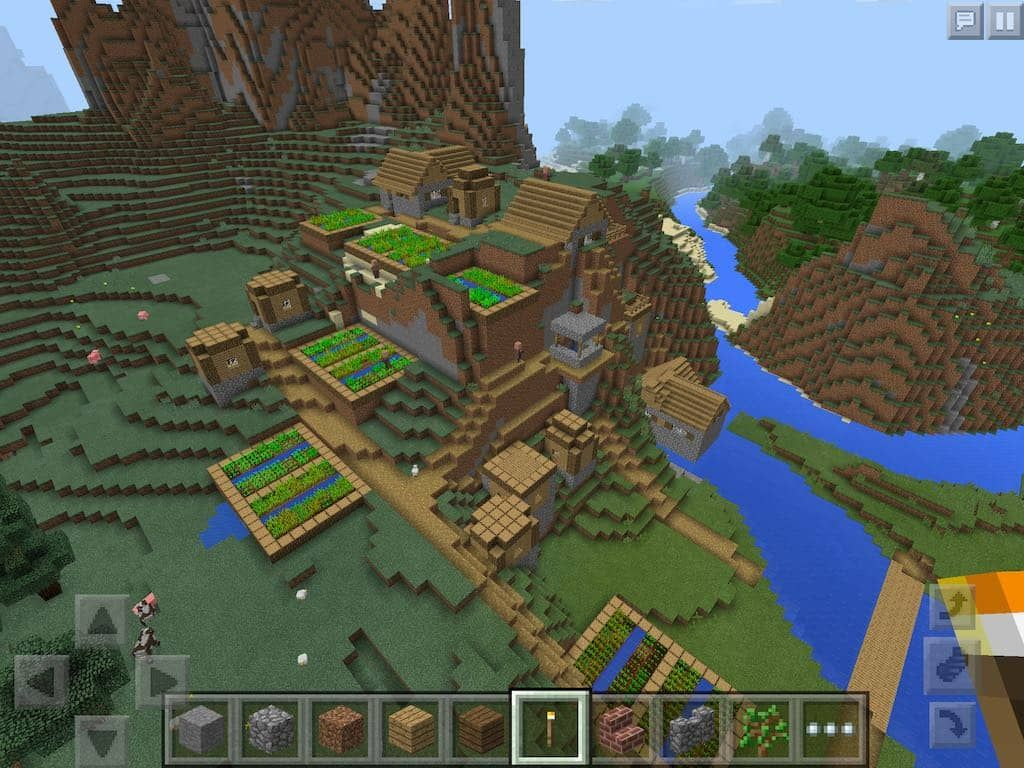 a minecraft pe village seed where the village is embedded in a