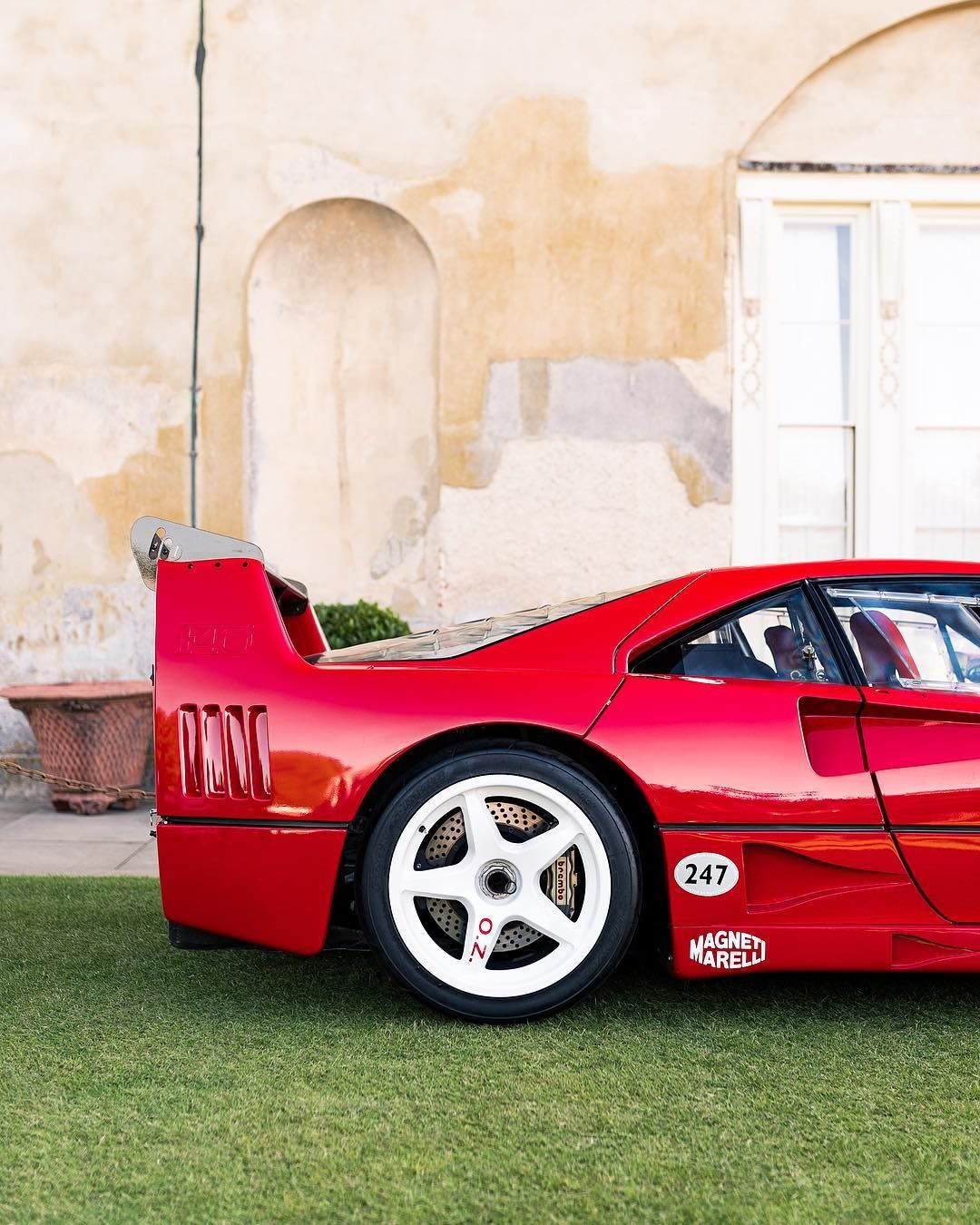 An F40 LM on white OZ wheels. muchwant ferrari f40 lm