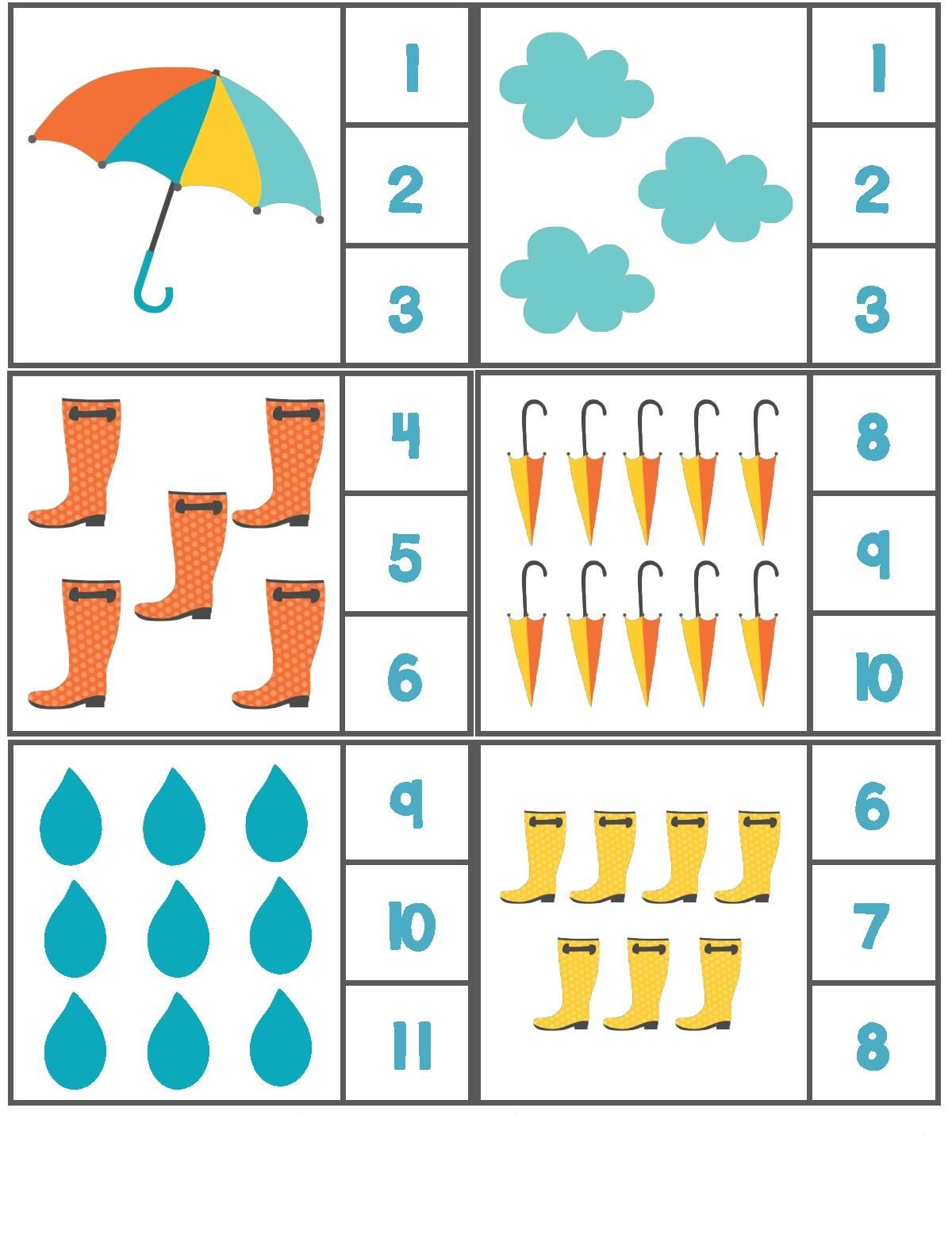 Rain Themed Counting Activity With Clothespin 4