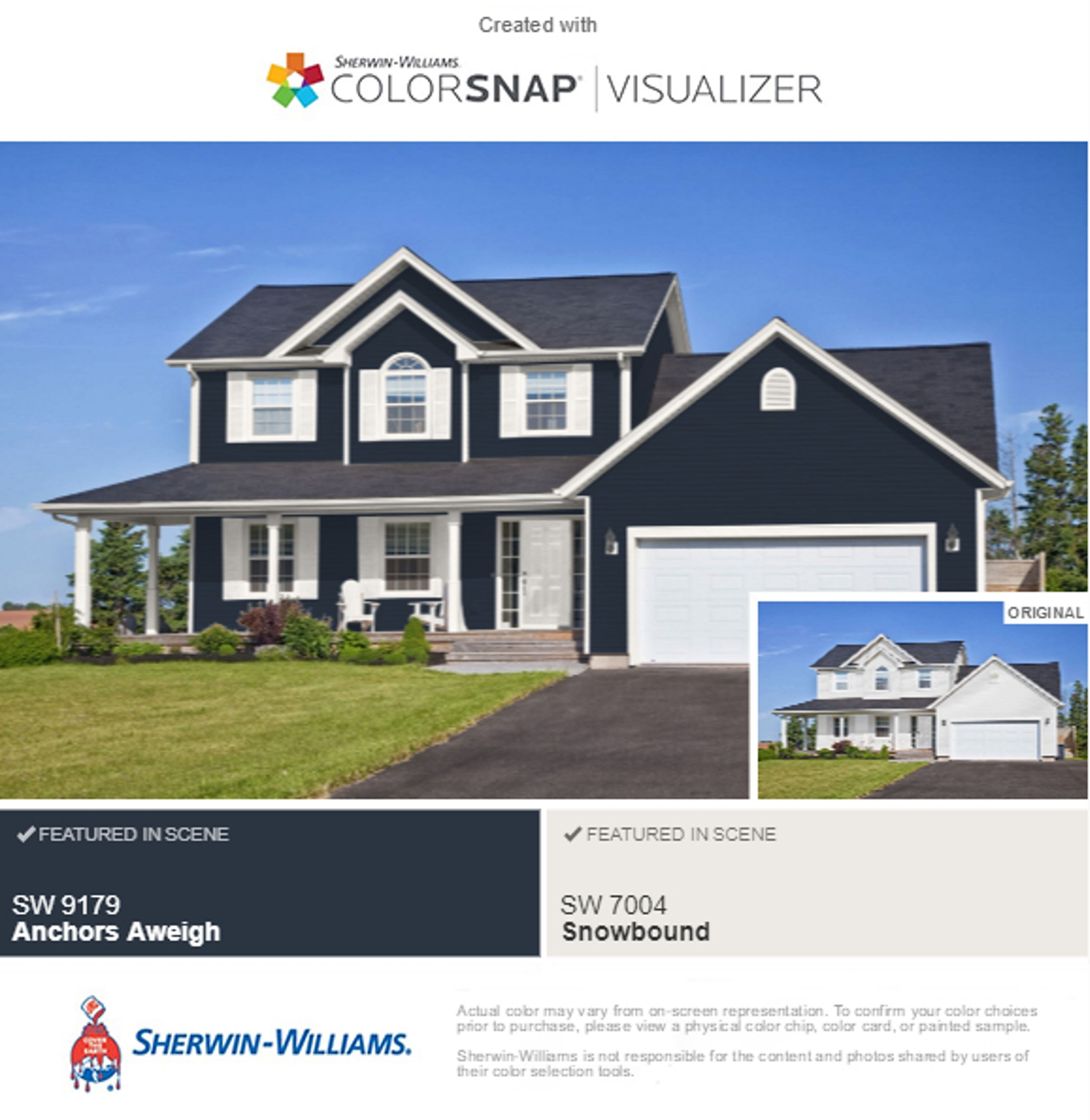 Sherwin Williams Anchors Aweigh With Snowbound Trim On Exterior New Exterior House P Exterior Paint Colors For House Exterior House Colors House Paint Exterior
