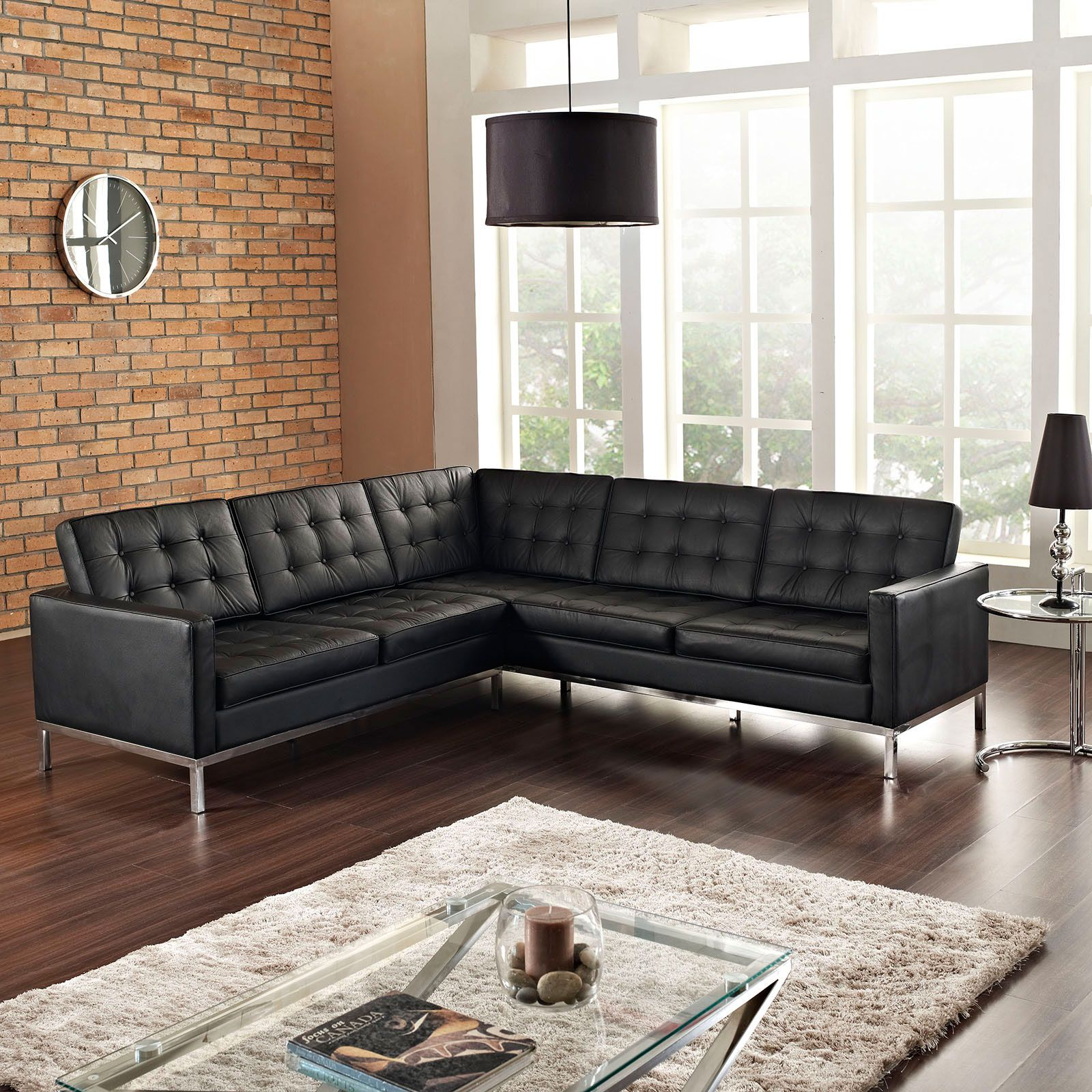 Sy Black Leather Sectional Sofa Mid Century Clics Collection Dot Bo