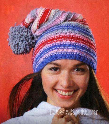 Спицами шапка-колпак с помпоном фото к описанию  b5a9cb7c9a11f