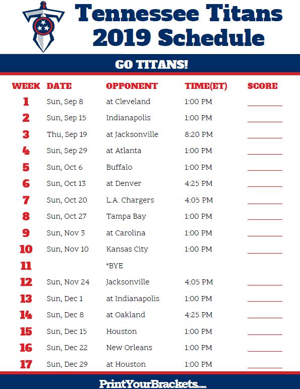 6c0b5eee Printable Tennessee Titans Schedule - 2019 Season | Printable NFL ...
