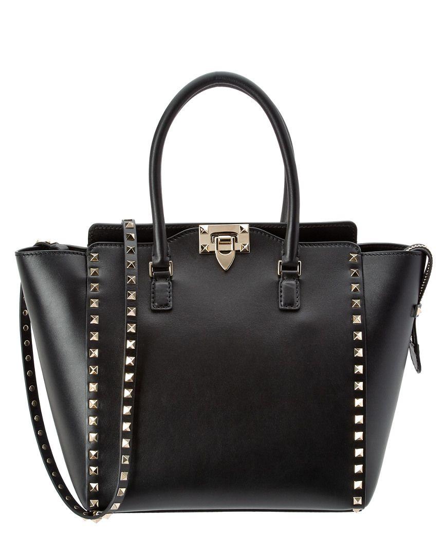 Valentino Rockstud Double Handle Leather Handbag