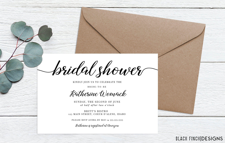Simple Modern Bridal Shower Invitation 4x6 Or 5x7 Etsy Modern Bridal Shower Invitations Bridal Brunch Invitations Bridal Shower Invitations