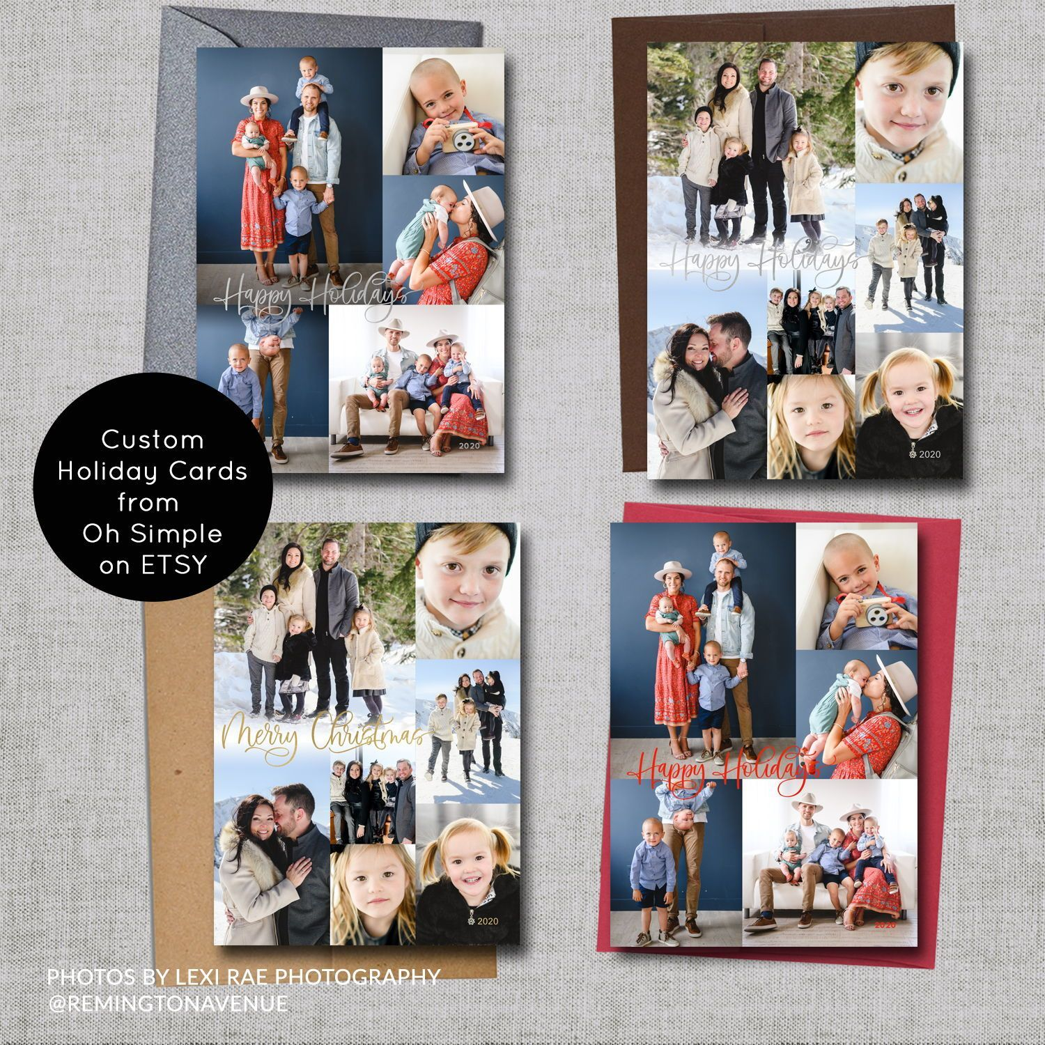 Photo Collage Christmas Cards Photo Collage Christmas Card Custom Holiday Card Modern Christmas Cards
