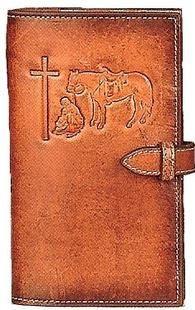 (MFW0650008) Western Tan Leather Praying Cowboy Travel Bible