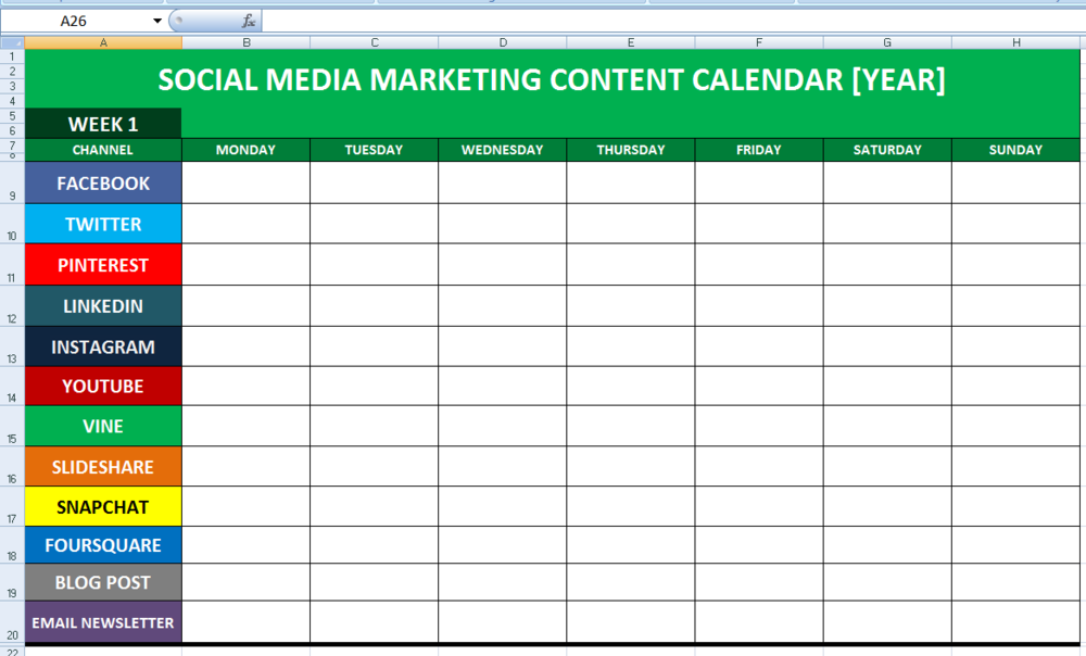 Social Media Calender Template Excel Business Calendar - Facebook media plan template