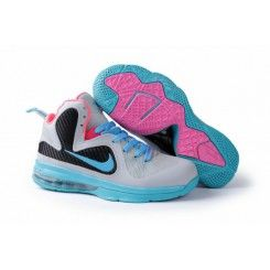 outlet store 0b0b7 e88d3 Nike Air Max LeBron James 9 Grey Moon Black Pink Womens Basketball Shoes