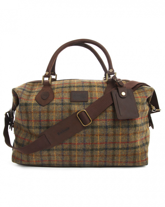 Barbour Tartan Tweed Leather Weekend Bag