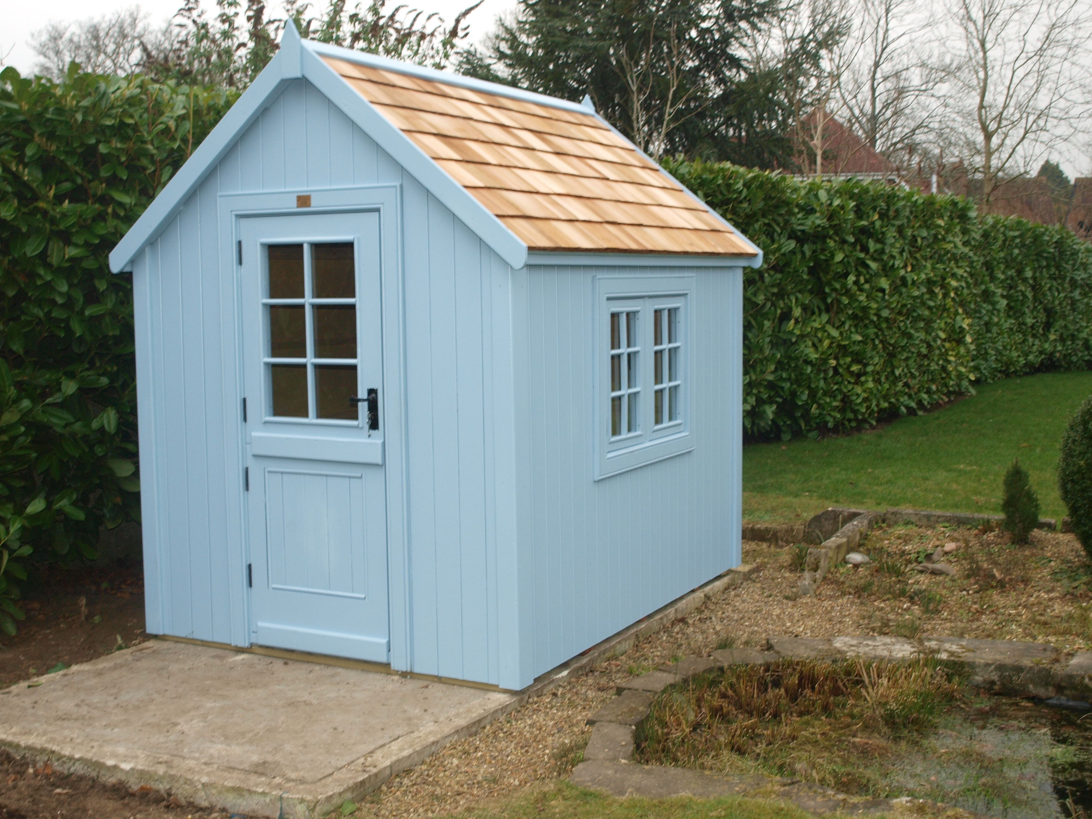 Cedar Shingle Roof Potting Style Farrow And Ball Lulworth Blue Paint Another Hy Customer At The Posh Shed Company