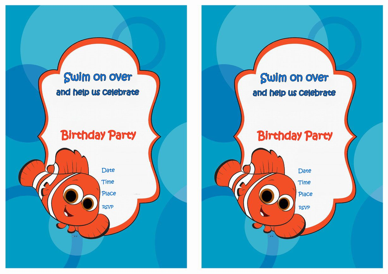 Finding Nemo FREE Printable Birthday Party Invitations | Birthday ...