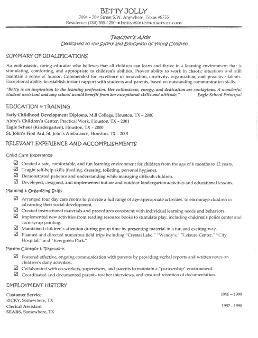 teacher aide resume example for betty she is a mom who had completed her diploma - Sample Resume For A Teacher