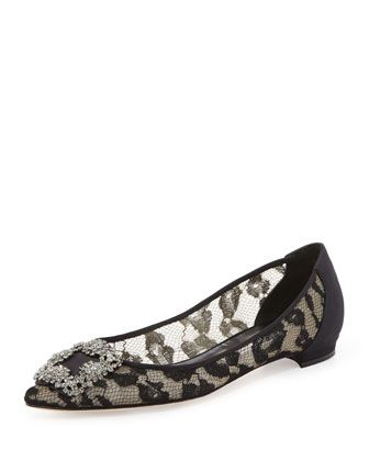 Hangisi Crystal-Buckle Lace Flat by Manolo Blahnik at Bergdorf Goodman.