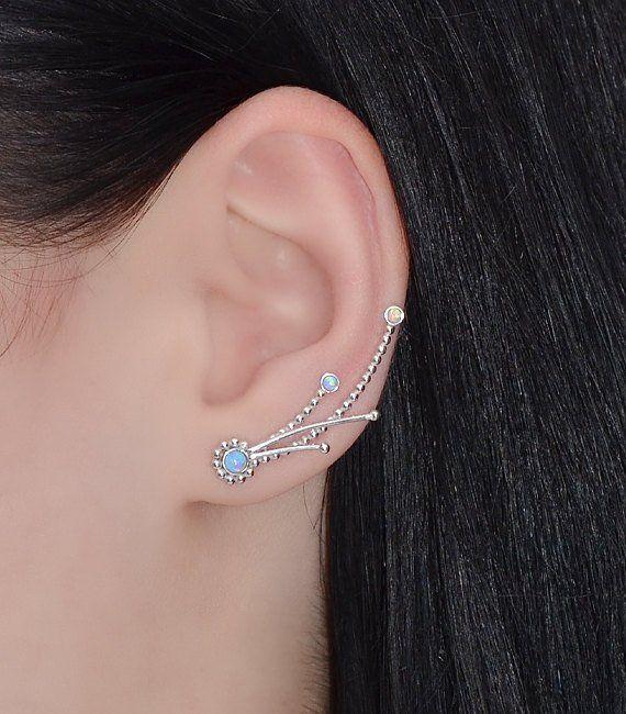 Emeralds Climber Earring Silver Ear Wrap Bar Earrings Post Earrings