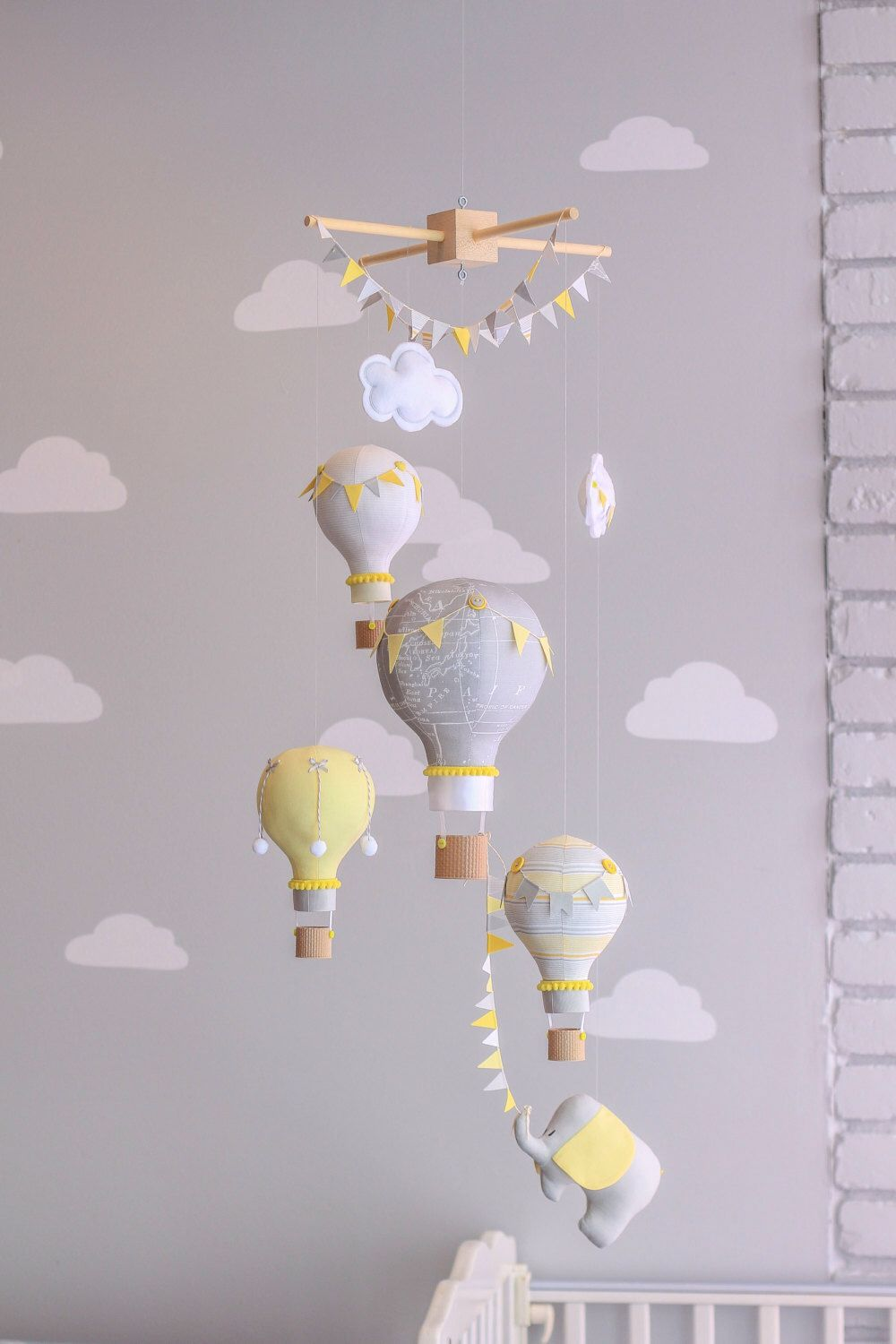 baby nursery yellow grey gender neutral. Yellow And Grey Gender Neutral Nursery Mobile, Hot Air Balloon Baby  Elephant Travel Theme, Circus Decor, Baby Nursery Yellow Grey Gender Neutral