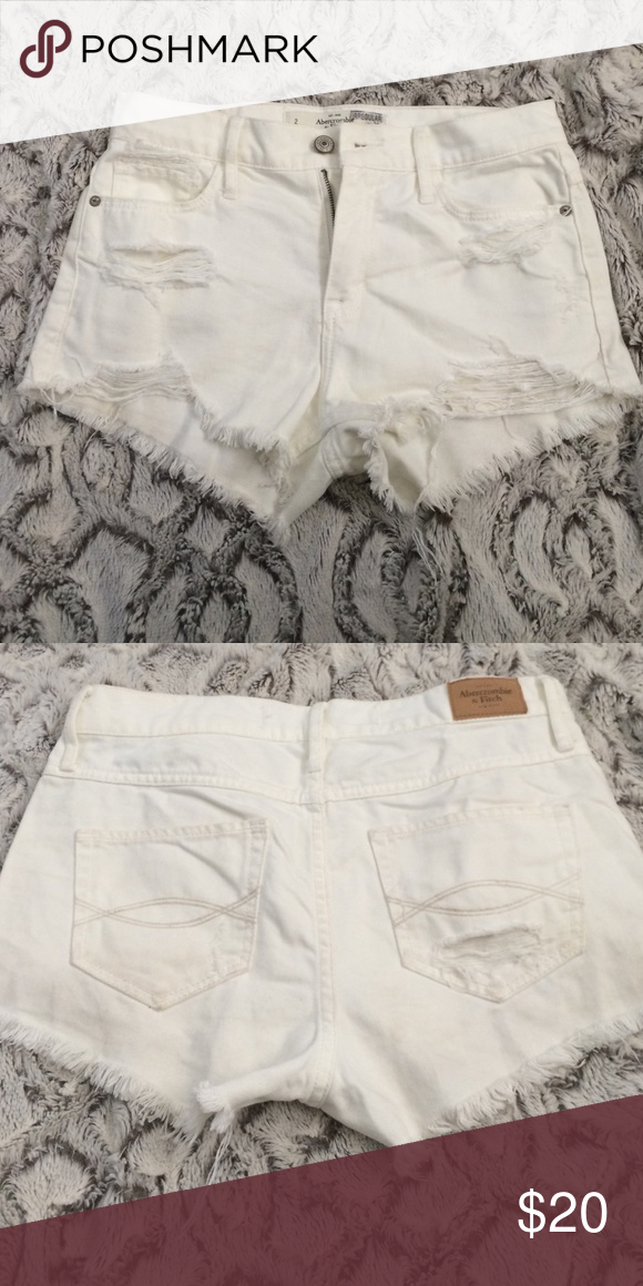 White high wasted Abercrombie shorts Bought from outlet that's why it says irregular on tag! But so cute just don't fit never worn! Abercrombie & Fitch Shorts Jean Shorts