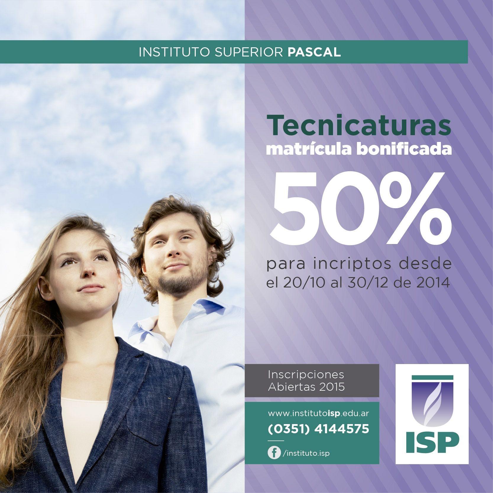 la Bonificación del 50% de la matricula para Tecnicaturas para nuevos alumnos 2015