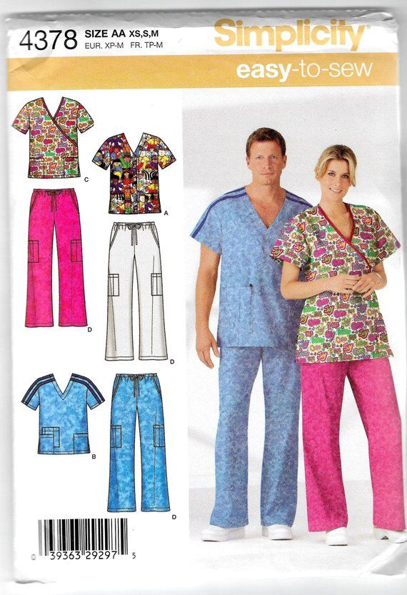 Sewing Pattern For Men's Women's Teens Medical Scrubs Hospital Gorgeous Scrub Patterns