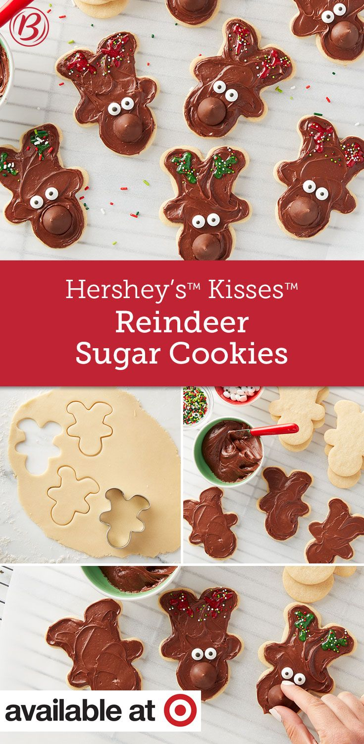 Hershey S Kisses Reindeer Sugar Cookies Recipe In 2018