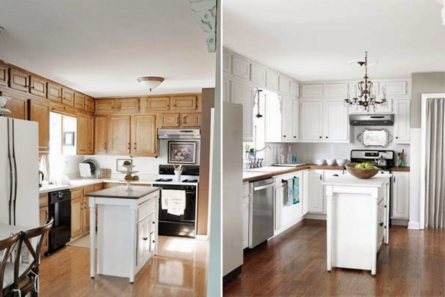 Paint Kitchen Cabinets White Before And After Painting Kitchen Cabinets White Kitchen Remodel Small Old Kitchen Cabinets