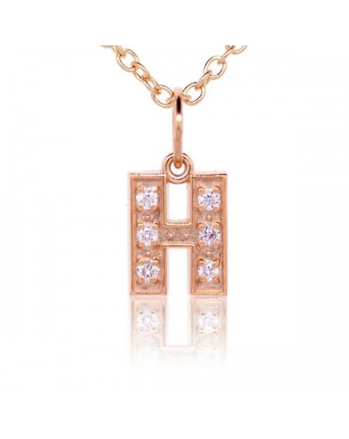 Alphabet Charm, Letter 'H' in 18K Rose Gold with high quality diamonds   Rose gold charms ...