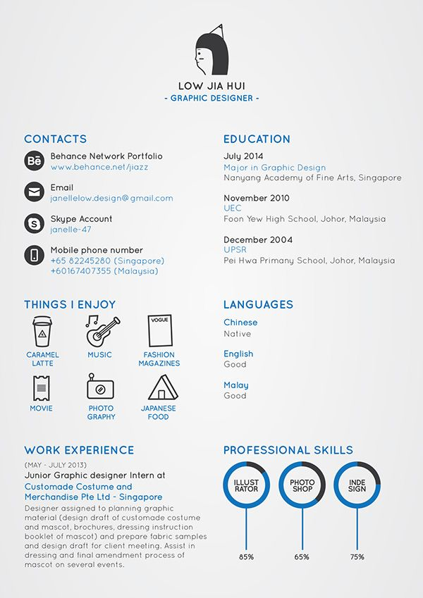 My First Resume by Janelle Low, via Behance Data Visualization - writing my first resume