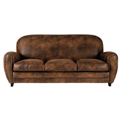 Canapé 3 places en microsu¨de marron