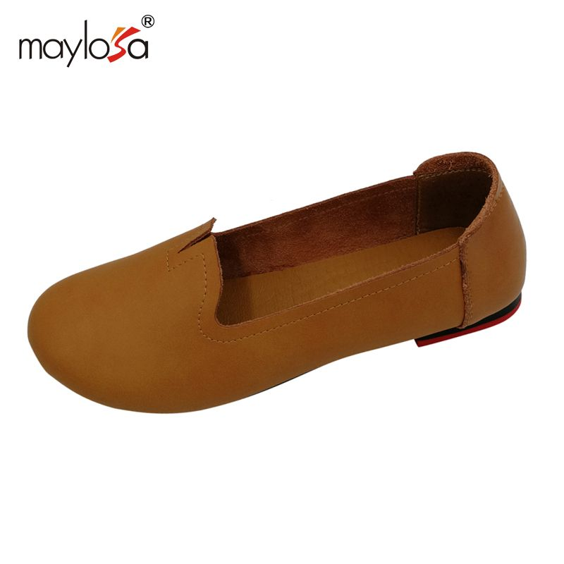 MAYLOSA Leder Damens Genuine Leder MAYLOSA Flats Handmade Moccasins casual schuhe ... 2c0fc0