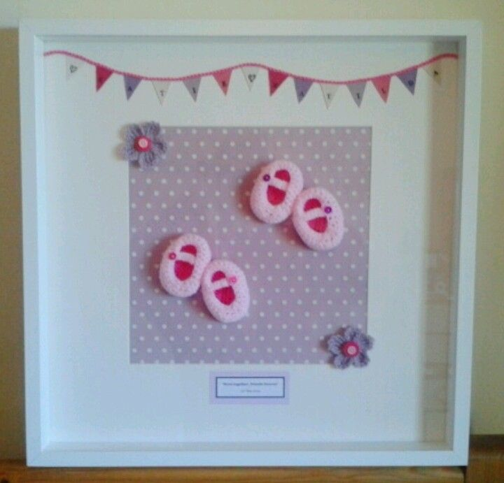 Box frame crochet booties for twins | Crochet Wall Hangings ...