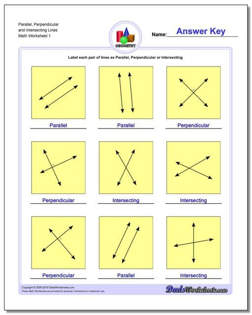 Parallel Perpendicular And Intersecting Lines Worksheet in ...