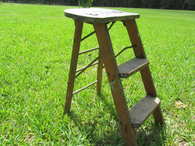 Vintage Wood Step Ladder Small Wood Ladder Kitchen Stool