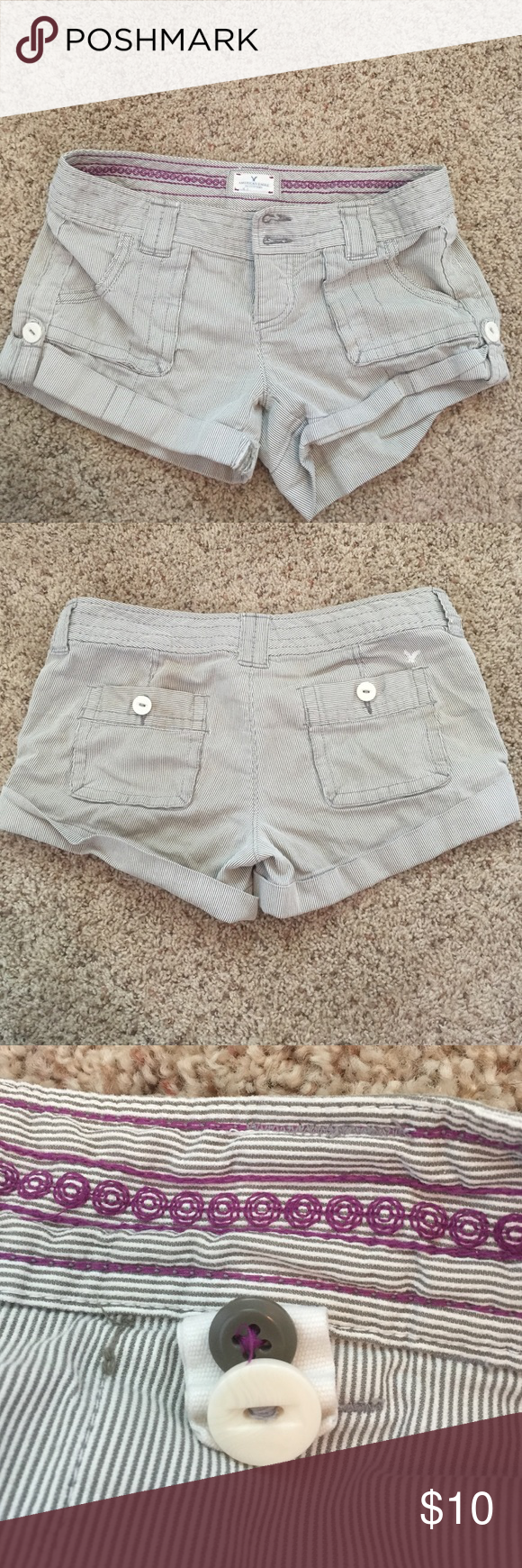 Striped shorts Has an adjustable waist band and a little ware on a seam as seen on the fourth picture American Eagle Outfitters Shorts Jean Shorts