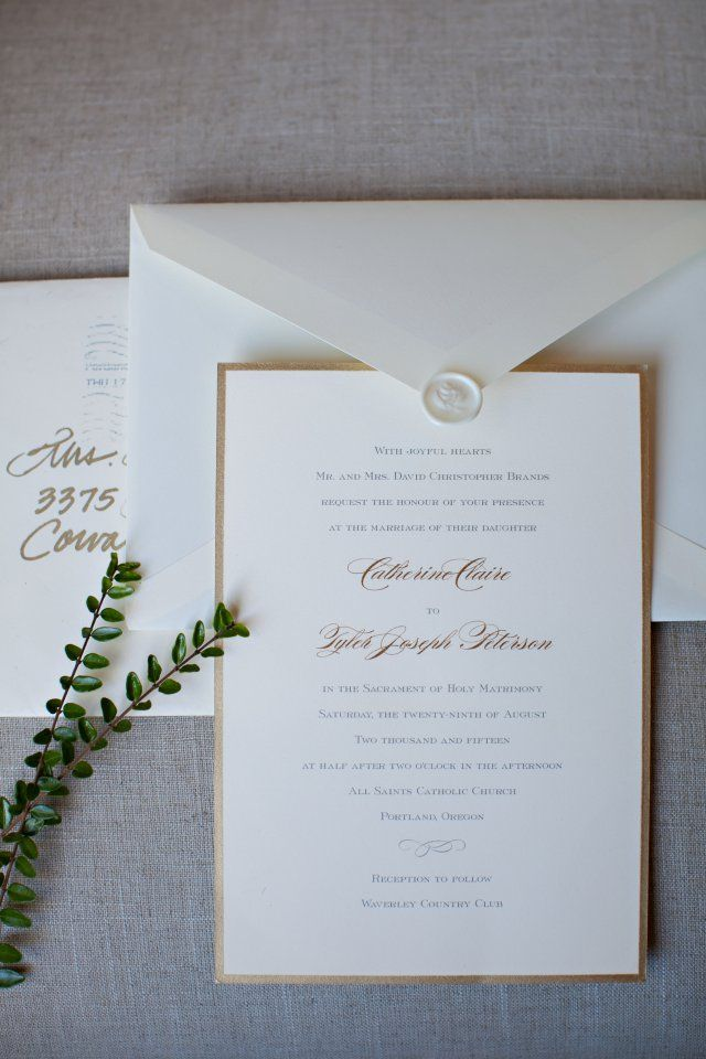 e4388a27681e elegant and classic gold and white invitations  Bridal Bliss Wedding