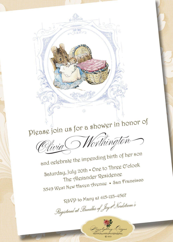 Peter Rabbit Baby Shower Invitation Hunca Munca Printable Digital Download Announcement Custom