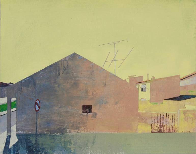 "Yellow Sky by Adalberto Ortiz; acrylic on canvas; 15 H x 19 W x 0.1"""