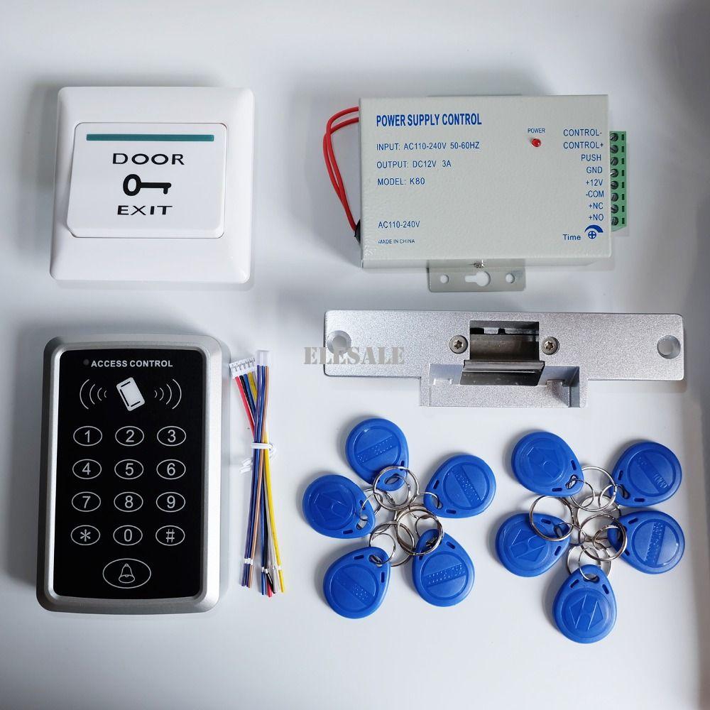 Full Rfid Door Access Control System Kit Set Electric Strike Lock 12v Power Supply Proximity Door E Access Control System Access Control Magnetic Door Lock