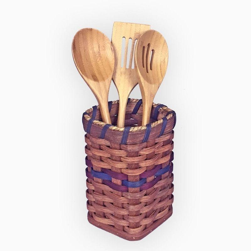 Amish Made Kitchen Cooking Utensil Holder Basket