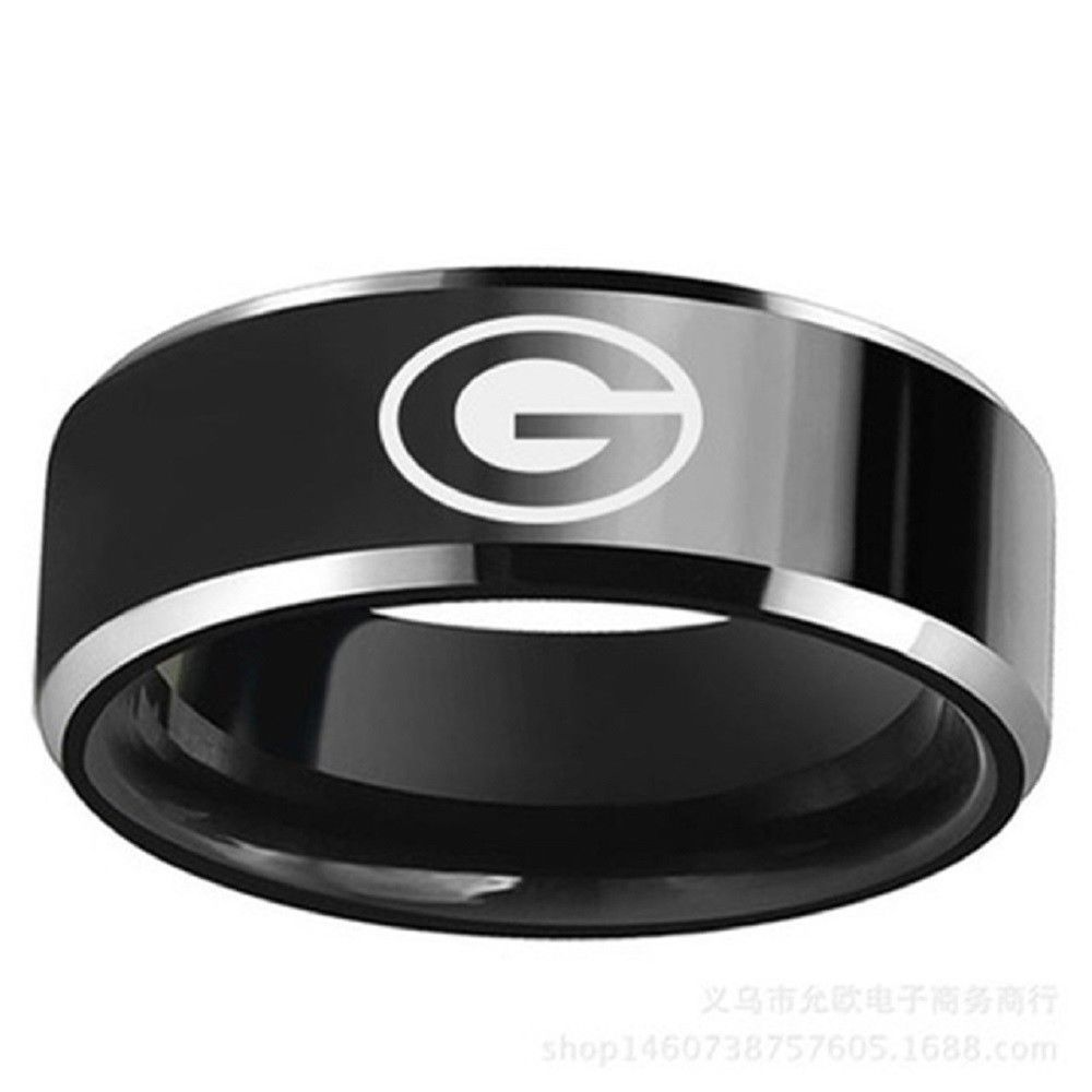 Us Green Bay Packers Football Team Black Stainless Steel Men Band Ring Size 6 13 Football Rings Titanium Steel Rings Gifts For Football Fans