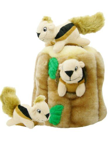 Outward Hound Hide A Squirrel And Puzzle Plush Squeaking Toys For