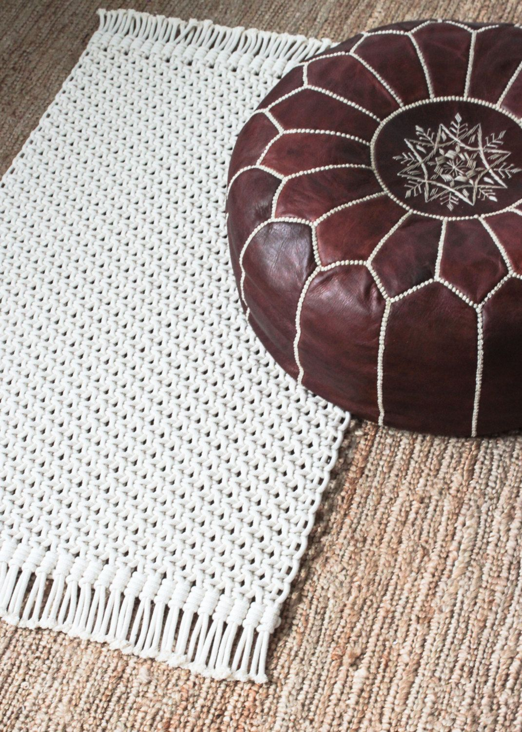 1000 images about crochet thread mini amp micro on pinterest - Macrame Rug Cotton Cord In Natural Ecru By Jojansenco
