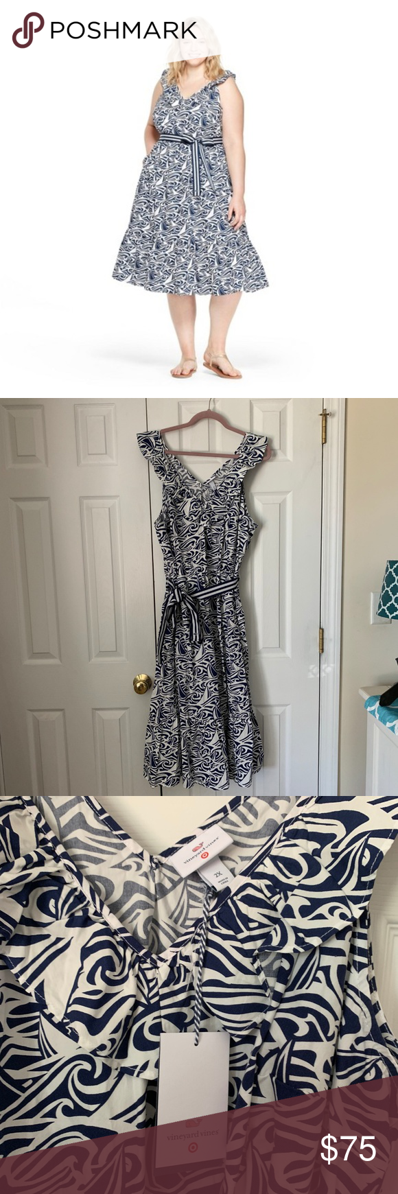 Vineyard Vines Target Plus Size 2X Rough Seas Ruffle Dress Tie Waist  NWT