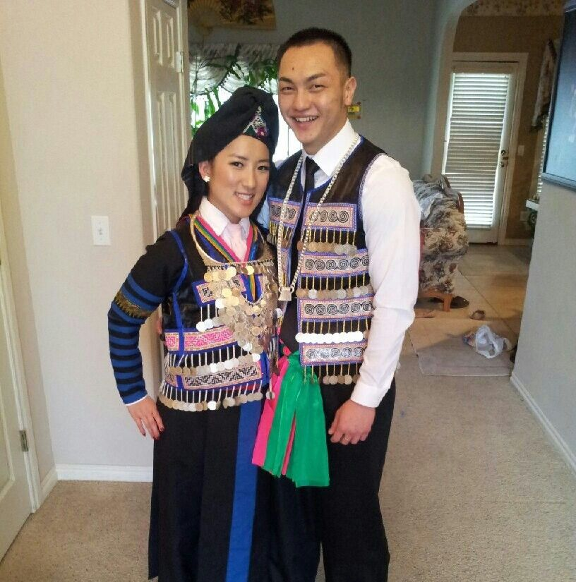 One of Traditional Hmong Wedding outfits  (hmong stripes