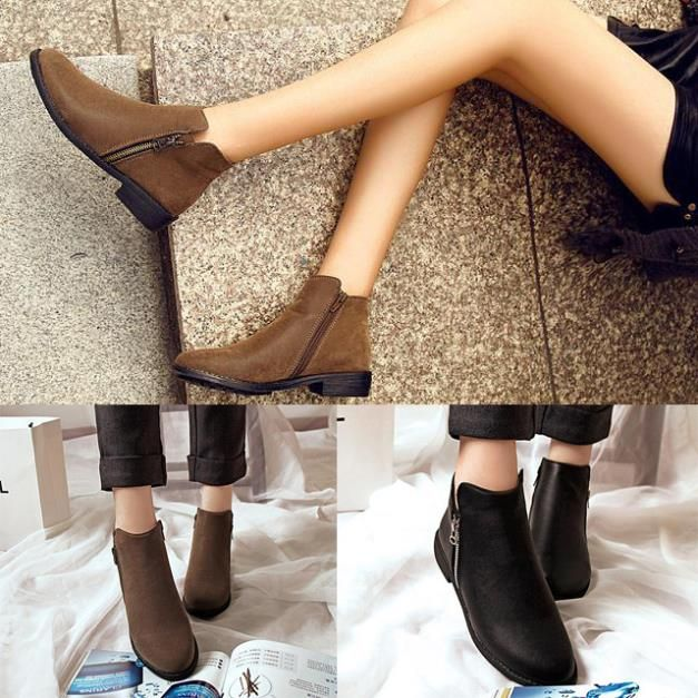 Womens Ankle Boots Zipper Chunky