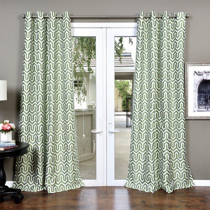 Dighton Jacquard Geometric Room Darkening Grommet Curtains